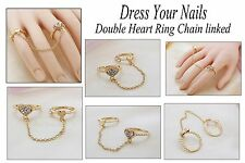 Heart Ring Double with Chain link  Finger Set Heart Rhinestone Gems CJ-R-8006