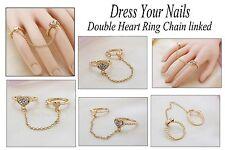 Corazón anillo doble con eslabones de cadena Dedo Set corazón Rhinestone Gemas cj-r-8006