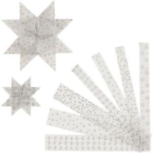 48 Papierstreifen für Fröbelsterne, Weiß / Silber, Pergamentpapier