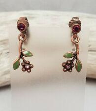 Flower Dangle Clip On Earrings Avon Coppertone Enamel and Rhinestone