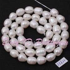 7-8mm Natural White Oval Shape Freshwater Pearl Gemstone Spacer Beads Strand 15""