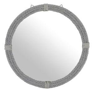 Large Grey Round Rope Surround Nautical Style Mirror - Quality Item - BNIB