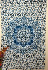 Tapestry Twin Size Omber Mandala Design Art Deco Style Bed Cover Handmade Solid