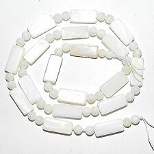 MP1867 White Rectangle & Round Mother of Pearl Shell Necklace Component Bead 16""