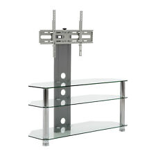"""MMT Clear Glass tv stand with mount bracket 32 - 65"""" LCD LED screen 600mm vesa"""