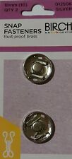 Birch Press Studs Size (10) 18mm 2 Sets Snap Fasteners Nickle Silver Rust Proof