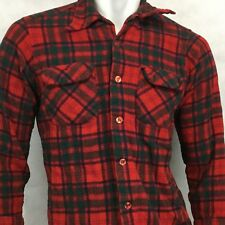Vtg Pendleton Board Shirt Flannel Sz L Wool Red Green Loop Plaid USA Elbow Patch