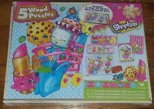 5 Wood Jigsaw Puzzles NIB Shopkins Cute Fruits Sweets Dairy & More