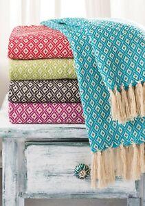 Diamond Weave Recycled Cotton Handloom Throw Fair Trade 130x180cm