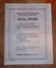 SEARS CRAFTSMAN DRILL PRESS OWNERS MANUAL 103.23641 23641