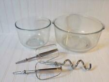 Vintage OSTER REGENCY KITCHEN CENTER Glass Mixing Bowls (Sm. & Lg.) and Beaters