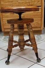 Vintage Charles Parker Co. Glass Ball Claw Foot Adjustable Stool/Piano Stool