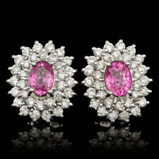Certified 2.00cttw Pink Sapphire 1.70cttw Diamond 14KT White Gold Earrings