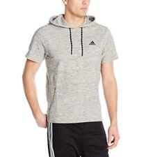 adidas Men's Athletics Pique Short Sleeve Hoodie~Medium Grey Heather~X-Large NWT