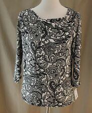 Liz Claiborne Career Petite, PL, Crema Multi Knit Top, New with Tags