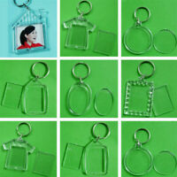 1~10x Clear Acrylic Blank Plastic Insert Photo Frame Key Ring Keychain Gift New