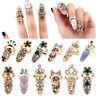 Mujeres moda Bowknot anillo de uñas encanto corona flor cristal dedo anillos PDQ