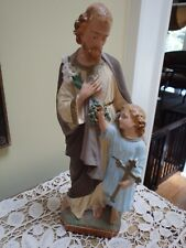 "Vintage 13"" Plaster Statue Of St. Joseph With Child Jesus Figure~ Made In France"