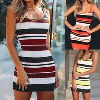 Women Camisole Sleeveless Bodycon Mini Dress Fashion Evening Party Striped Dress
