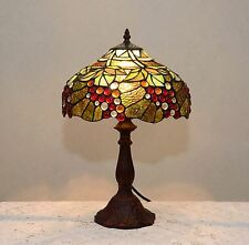 """12""""W Zinc Base Grape Vine Tiffany Style Stained Glass Jeweled Table Desk Lamp"""