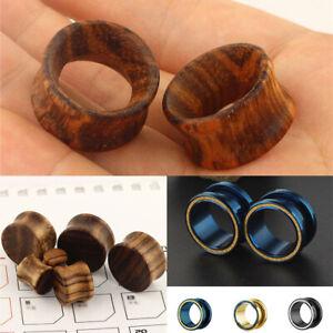 Wooden Ear Plugs Earrings Double Flared Flesh Tunnel Expander Piercing Jewelry