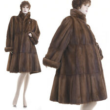 LKNW! XL-XXL! World's Finest Sable Brown Mink Pleated Tiered 118 in. Swing Coat
