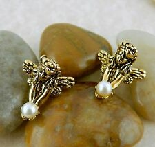Gold plated Fairy with pearl 3D post earrings