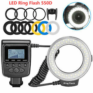 Macro LED Ring Flash Light RF 550D Speedlite For Nikon Canon Olympus Fuji DSLR