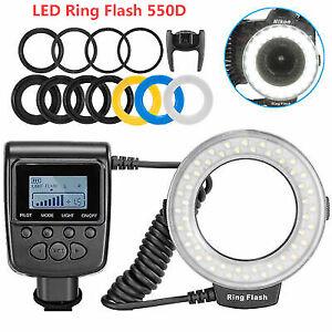 Macro LED Ring Flash Light RF 550D Speedlite For Nikon Canon Olympus Fuji DSLR