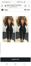 Deep V neck Front Zip Long Jumpsuit playsuit catsuit M 10 -12 white