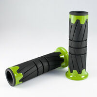 tire pattern handlebars hand grips black & green for custom motorcycle scooter