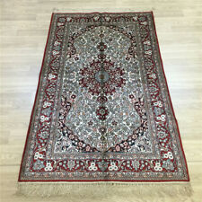 Yilong 3'x5' Floral Handmade Silk Carpet Living Room Pictorial Area Rug 048C