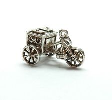 Vintage 925 Sterling Silver CHIM ICES TRICYCLE MOVING WHEELS Charm Pendant 3.7g