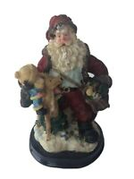 "Vintage Santa Claus Figure Child Deer Sack 6.5"" Tall Christmas Holiday Gift"