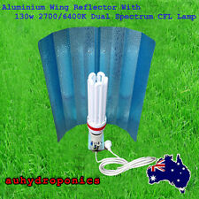 Dual Spectrum 130W CFL Lamp Wing Reflector Hydroponics Grow Light Kit