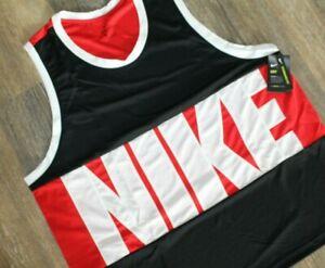 NWT NIKE Men's Dri-Fit Big & Tall Basketball Jersey Tank Top Black Red White