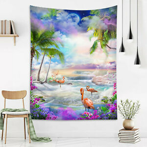 Fantasy Wonderland Flamingo Waterfall Tapestry Wall Hang Living Room Bedroom