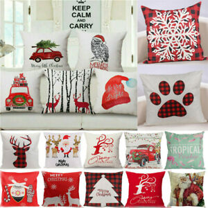 Festive Gift Christmas Xmas Linen Cushion Cover Throw Pillow Case 45cm Multicolo