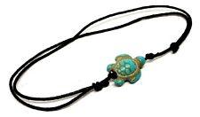 Turtle Ankle Bracelet Turquoise Howlite Bead Boho Anklet Black Lace Adjustable