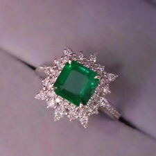Solid 14K White Gold Natural Vivid Green Emerald Wedding Diamond Ring Jewelry