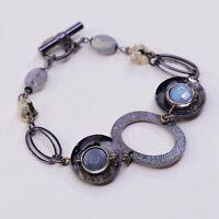 """6.5"""", Vtg Antique Brass Bracelet W/ Disc Charm N Moonstone Inlah"""