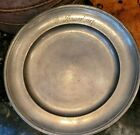 Antique Pewter Plate Etched Name Date 1887 ZINN EAGLE Mark 9