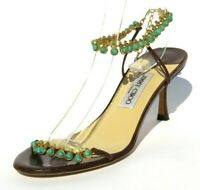 JIMMY CHOO Brown Leather Green Crystal Stone Embellished Chain Sandals Pumps 40
