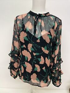 New Lily and Lionel Poppy Print Blouse, Black Pink, Small, RRP £165. A89
