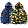 Bape A Bathing Ape Shark Head Winter Thick Men's Jacket Camo Hooded Padded Coat