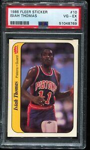 1986 Fleer Sticker Basketball #10 ISIAH THOMAS Detroit Pistons PSA 4 VG-EX