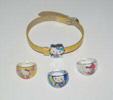 Lot 3 Bagues + Bracelet Hello Kitty Jaune & Bleu