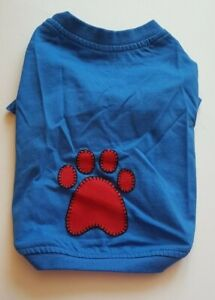 """NEW Blue Dog T-shirt with Red Paw Print Applique 10"""" 12"""" Small"""