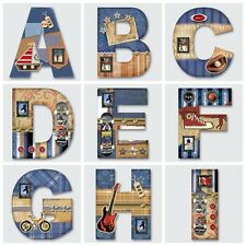 1 X Personalised Plaque Wooden Alphabet 26 Letters A-z ( for Boys)