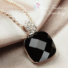 18K Rose Gold Plated Simulated Black Agate Stylish Princess Cut Necklace